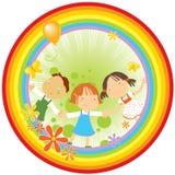 Kinder und Regenbogen Stockfotografie