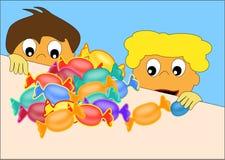 Kinder und Süßigkeit Lizenzfreie Stockbilder