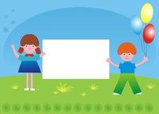 Kinder und Sloganfahne lizenzfreies stockfoto
