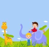 Kinder und Tier vektor abbildung