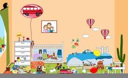 Kinder unordentlich und unordentlicher Raum Kind zerstreute Spielwaren und Kleidung Raum, in dem zwei kleine Jungen leben Verwirr stock abbildung