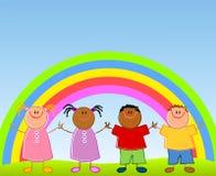 Kinder unter Regenbogen Stockbild