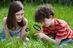 Kinder unter Verwendung des Vergrößerungsglases stockfotos