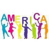 Kinder, welche die Buchstaben aufbauen das Wort AMERIKA halten Lizenzfreies Stockbild