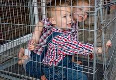Kinder werden oben gesperrt Stockbild