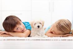 Kinder zu Hause mit ihrem neuen Haustier Stockbild