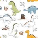 Kinderachtig dinosaurus naadloos patroon voor manierkleren, stof, t-shirts Hand getrokken vector stock illustratie