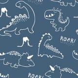 Kinderachtig dinosaurus naadloos patroon voor manierkleren, stof, t-shirts Hand getrokken vector royalty-vrije illustratie