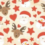 Kinderachtig Kerstmis naadloos patroon met Santa Claus, Kerstbomen, snuisterijen en kousen stock illustratie