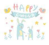 Kinderachtig Konijntje met Mamma Vlakke Vectorillustratie Royalty-vrije Stock Afbeelding