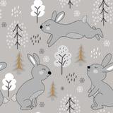 Kinderachtig naadloos patroon met konijnen de illustratie van het de winterontwerp voor stof, textiel, behang, kleren royalty-vrije illustratie