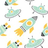 Kinderachtig naadloos patroon met krabbelraketten royalty-vrije illustratie