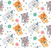 Kinderachtig Naadloos Patroon met Leuke Katten Kleurrijke jonge geitjesachtergrond in vector Stock Afbeeldingen