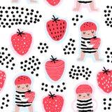 Kinderachtig Naadloos Patroon met Leuke Meisjes en Aardbeien Creatieve Jonge geitjesachtergrond voor Stof, Textiel, Behang stock illustratie