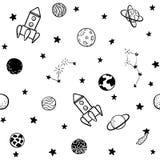 Kinderachtig naadloos patroon plaatsen de hand getrokken ruimteelementen, raket, ster, planeet, sondeerballon uit elkaar In jonge vector illustratie