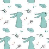 Kinderachtig patroon met leuke konijnen Stock Fotografie