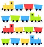 Kinderachtige beeldverhaal kleurrijke treinen Royalty-vrije Stock Afbeeldingen