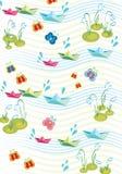 Kinderachtige de lenteachtergrond met paperships Royalty-vrije Stock Afbeelding