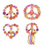 Kinderachtige t-shirtdrukken met het symbool van de vredesbloem vector illustratie