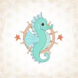 Kinderachtige vector seahorse met weefselachtergrond Stock Fotografie
