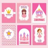 Kinderalles Gute zum Geburtstag und Prinzessinpartei zacken Einladungsvektorschablone aus vektor abbildung