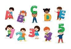 Kinderalphabetvektor-Kinderguß und Jungen- oder Mädchencharakter, der Illustration des alphabetischen Buchstaben oder der Zahl hä lizenzfreie abbildung