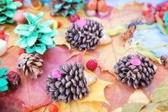Kinderapplikation von trockenen Blättern und von Beeren Stockfotografie