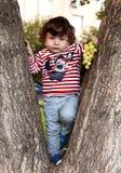 Kinderbaby gelockter Brunette in den Jeans und in einem T-Shirt kletterte einen Baum Lizenzfreie Stockfotos