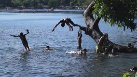 Kinderbad und -Schwimmen im Sampaloc See wässert stock video