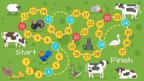 Kinderbauernhof-Brettspielschablone lizenzfreie abbildung