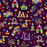 Kinderbausteine vector bunte Ziegelsteine des Babyspielzeugs, um netten Farbbau im childroom zu errichten oder zu konstruieren stock abbildung