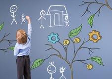 Kinderbehälter und Zeichnung von kommerziellen Grafiken auf Anlage verzweigt sich auf Wand- und Familienskizzen Stockbild