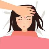 Kinderberühren kranke kalte Mutterhand ihren Vorderkopf, um Temperaturmutterliebe zu überprüfen Stockbild