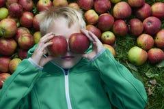 Kinderblonder Junge, der auf dem Hintergrund des grünen Grases mit Apfelgläsern liegt Stockfotos