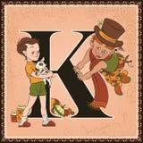 Kinderbuch-Karikaturmärchenalphabet Buchstabe K Karlsson auf dem Dach durch Astrid Lindgren Stockfoto