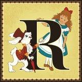 Kinderbuch-Karikaturmärchenalphabet Zeichen R Alice und weißes Kaninchen Alice's-Abenteuer im Märchenland durch Lewis Carroll Lizenzfreie Stockfotografie