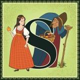 Kinderbuch-Karikaturmärchenalphabet Zeichen S Schneewittchen und die sieben Zwerge durch die Brüder Grimm Lizenzfreie Stockbilder