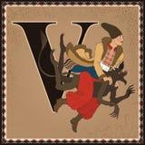 Kinderbuch-Karikaturmärchenalphabet Zeichen V Vakula und der Teufel Die Nacht von Weihnachtsabend durch Nikolai Gogol Lizenzfreie Stockfotografie