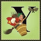Kinderbuch-Karikaturmärchenalphabet Zeichen Y Baba Yaga von den russischen Volksmärchen Stockbild