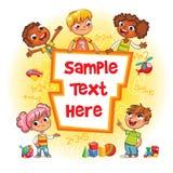 Kinderbucheinband Kind, das auf eine leere Schablone zeigt Stockbild