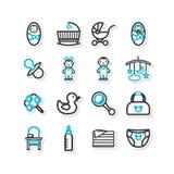 Reeks pictogrammen een huisbinnenland kinderdagverblijf kinderen vector illustratie - Keuken ontwerp lineaire ...