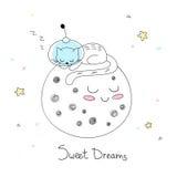 Kinderdagverblijfkunst: leuke hand-drawn kat in een ruimtereeksslaap op de oppervlakte van de maan Vector Illustratie