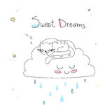 Kinderdagverblijfkunst: leuke hand-drawn kattenslaap op de grappige zachte wolk Royalty-vrije Illustratie