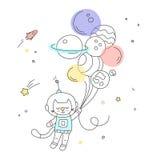 Kinderdagverblijfkunst: leuke hand-drawn kattenvlieg aan de ruimte op de luchtballons Stock Foto