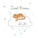 Kinderdagverblijfkunst: leuke hand-drawn tijgerslaap op de grappige zachte wolk Royalty-vrije Stock Afbeelding