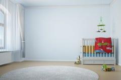 Kinderdagverblijfruimte met crip Stock Afbeelding