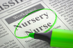 Kinderdagverblijfverpleegster Hiring Now 3d Royalty-vrije Stock Foto