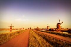 Kinderdijk葡萄酒 库存照片