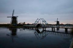 Kinderdijk το βράδυ στοκ φωτογραφία