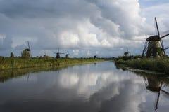 Kinderdijk, Нидерланды, 30-ое мая 2018 - ветрянки на Kinde стоковое изображение rf